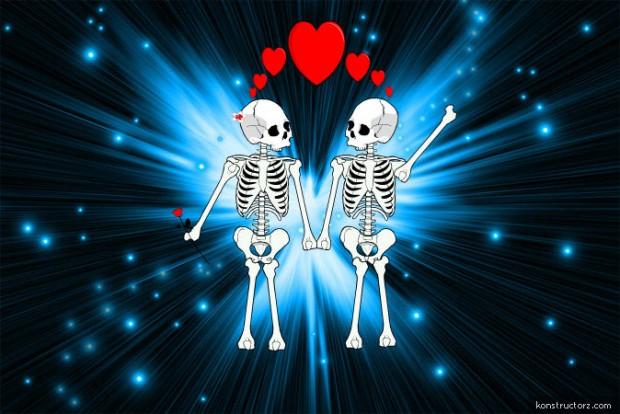 Love between two skeletons